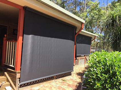 Outdoor track blinds